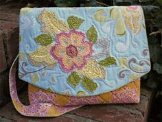 Sashiko quilted and embellished purse - done with Baby Lock's Sashiko machine. A Bit of Stitch