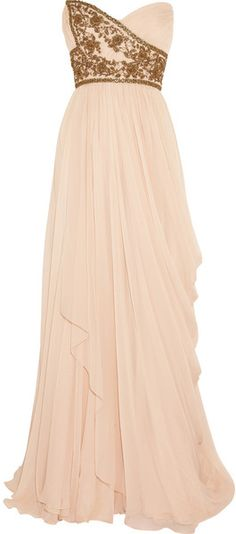 Marchesa Embellished Silkchiffon Strapless Gown in Pink (blush)