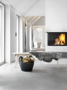 15 impeccable examples of sophisticated interiors with concrete floors - Heike Vogelsang - 15 impeccable examples of sophisticated interiors with concrete floors Scandinavian interior with concrete floor. Torkelson via Femina - Flooring, Home Fireplace, House Design, Interior Design, House Interior, Concrete Interiors, Concrete Floors, Scandinavian Interior, Home Decor
