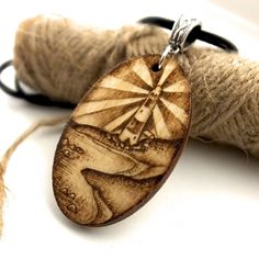 Lighthouse Shining Brightly Oval Birch Pyrography Pendant Necklace £17.95