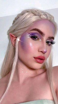 Cool Makeup Looks, Halloween Makeup Looks, Creative Makeup Looks, Pretty Makeup, Mermaid Makeup Looks, Purple Makeup Looks, Amazing Makeup, Ethereal Makeup, Rave Makeup