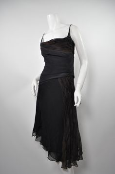 DANES Black/Brown Ombre Silk Chiffon Cocktail Dress Sz4