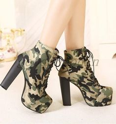 Euro Fashion Womens Camo Military Ankle Boots Round Toe Lace Up High Heels Shoes