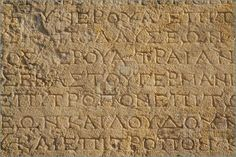 Image of A close up of ancient Greek text from Ephesus, Turkey.