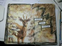 Journal page by Erica Evans using napkin decoupage and collage