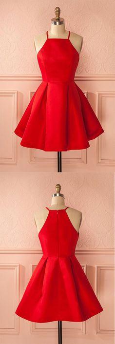 Short Straps Red Prom Dresses,Cheap Homecoming Dress for Girls,Halter Prom Dress,Sweet 16 Dress,Graduation Dress,Homecoming Dress,GT54