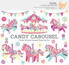Bright Candy Carousel Horse Clip Art MEGA pack. Pretty Little Pony. Cute Childrens Scrapbook Party Art. For Invitations, Kids Wall Art.