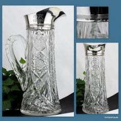 GORHAM Sterling Mounted Rim & J Hoare NEWPORT ABP Brilliant Cut Glass Pitcher #JHoare