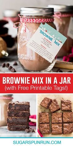 An easy Homemade Brownie Mix recipe! Just a handful of basic ingredients and you can have a jar in your pantry ready to go at all times (this is also an easy recipe to whip up in a pinch)! Make it for yourself, or give as a sweet gift this holiday season. Recipe includes printable gift tags/instructions and a how-to video! Brownie Mix Recipes, Homemade Brownie Mix, Best Brownie Recipe, Homemade Brownies, Best Brownies, Fudgy Brownies, Brownie Bar, Easy Cake Recipes, Dessert Recipes