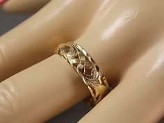 Flower and Vine cut out Gold 5mm Wedding Band by estatejewelryshop, $275.00