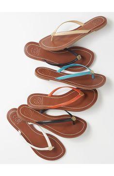 Tory Burch & # s Terra & # Flip Flop (Women) Cute Sandals, Cute Shoes, Flip Flop Sandals, Me Too Shoes, Tory Burch Flip Flops, Tory Burch Sandals, Tong Cuir, Look Fashion, Fashion Shoes