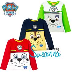 Paw Patrol Boys Long Sleeve Top, T-Shirt 2-6 years NEW 2016 100% Cotton