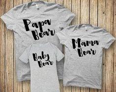 Papa Bear Baby Bear Mama Bear Shirt Fathers Day Gift T by BoooTees
