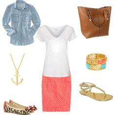 tee shirts and pencil skirts | ... Style: Eyelet Coral Pencil Skirt + White V-Neck Tee + Chambray Shirt