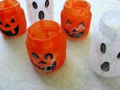 halloween votives - using baby food jars, crepe paper, & black paper