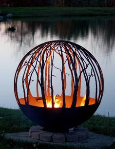 Winter Woods – Birch Tree Fire Pit - This peaceful birch tree fire pit sphere seems to draw you in, as though you are standing in a quie - Wood Fire Pit, Diy Fire Pit, Fire Pit Backyard, Fire Pit Sphere, Custom Fire Pit, Outside Fire Pits, Fire Pit Designs, Outdoor Kitchen Design, Outdoor Settings