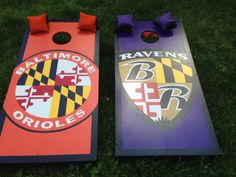 Maryland Baltimore Orioles and Ravens shields set by BMore Corny