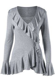 fall outfits:Ruffle Trim Flare Sleeve Top