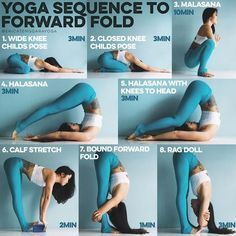 YOGA SEQUENCE TO FORWARD FOLD: 3 years ago I could not touch my toes, 3 years later my elbows can touch my toes. Here is a little sequence I personally do that doesn't just open the hamstrings but targets the hips, spine and calves which can affect our fo