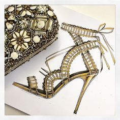A touch of gold. X Marchesa Shoes