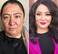 This Artist Demonstrates the True Power of Makeup Bridal Makeup Makeup Tips, Beauty Makeup, Glossy Eyes, Makeup Before And After, Power Of Makeup, Coloured Girls, Hollywood Star, Makeup Transformation, Skin Makeup