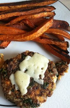 Quinoa and vegetable burgers with sweet potato fries