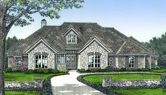 Two gables and an attractive dormer help to create a beautiful facade on this classic European-inspired house plan.Step inside off the covered porch entry with French doors and you\'ll be greeted by front to back views through the dynamic vaulted great room with a fireplace with built-ins and access to the kitchen, nook and covered patio.The central island gives you extra counterspace and the 12\
