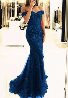Elegant Navy Blue Lace Prom Dresses Off The Shoulder Mermaid Evening Gowns Pearl Beaded on Luulla