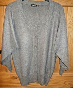 2c10445d5a5869 Women s grey winter cardigan 3 4 dolman sleeves size S approx 12  fashion