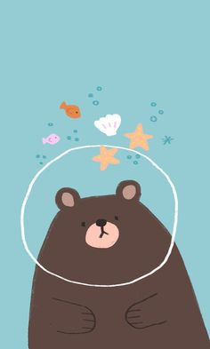 Cute illustration of a bear in ocean water. Bear Wallpaper, Kawaii Wallpaper, Pastel Wallpaper, Cute Wallpaper Backgrounds, Cute Cartoon Wallpapers, Wallpaper Iphone Cute, Kawaii Drawings, Cute Drawings, Decoration Creche