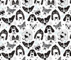 I love big silly dogs dogs and puppy wallpaper fabric - Dog print wallpaper ...