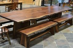 Live Edge Walnut Slab Dining Table with by SandyCreekWoodworks Dining Furniture, Rustic Furniture, Furniture Ideas, Uses Of Wood, Wood Slab Table, Cool Woodworking Projects, Wood Projects, Walnut Slab, Dining Room Table