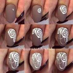 30 easy ways to slay floral nail art Nail Art Fleur, Rose Nail Art, Floral Nail Art, Rose Nails, Flower Nails, Nail Designs Spring, Nail Art Designs, Nail Art Modele, Henna Nails