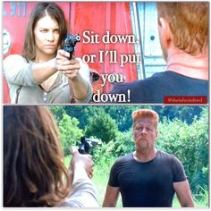Sit down or I'll put you down - Maggie told him! - Fangirl- The Walking Dead Walking Dead Quotes, Walking Dead Tv Show, Walking Dead Season, Fear The Walking Dead, Best Tv Shows, Best Shows Ever, Favorite Tv Shows, Abraham Ford, Nurse Jackie