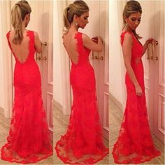 Hou&Tong® Women's Sexy Vestidos Lace Crochet Mini Floral Cocktail Maxi Club Long Backless Embroidery V Neck Dresses - USD $ 136.00