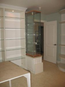 doll room planning with ikea display cabinets placed on top of lower cabinets...