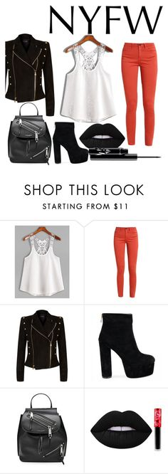 """Coral NYFW"" by re-ch-wr ❤ liked on Polyvore featuring Balmain, Marc Jacobs and Lime Crime"