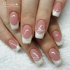 50 Top Best Wedding Nail Art Designs to Get Inspired Classy Acrylic Nails, Gel Nails French, Pretty Nail Colors, Pretty Nails, Bridal Nail Art, Wedding Nail, Nail Tip Designs, Cute Nail Art, Creative Nails