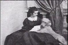 "Photo by unknown photographer of  Empress Elisabeth ""Sissi"" (Elisabeth Amalie Eugenie) (24 Dec 1837-10 Sep 1898) Bavaria with her dog Shadow. Sissi was the wife of Emperor Franz Joseph I (18 Aug 1830-21 Nov 1916) Austria."
