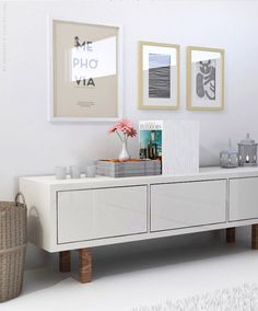 White living room visualization | My Paradissi © Eleni Psyllaki - Ikea Stockholm tv unit
