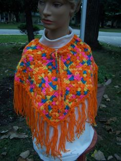Child size granny square poncho by TheMommalady on Etsy, $25.00