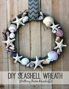 DIY Seashell Wreath Tutorial {Pottery Barn Knockoff} from Addicted 2 DIY