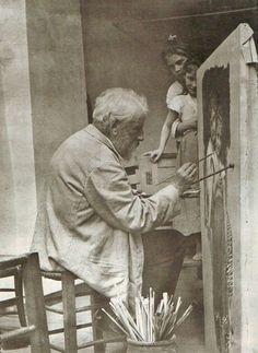 inneroptics:    Bouguereau in studio painting Two Sisters...