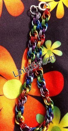 Rainbow Double Spiral Chainmail Bracelet | Linkdbylori - Jewelry on ArtFire