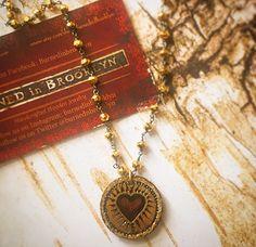 Copper Heart on Rosary chain by by BurnedinBrooklyn on Etsy