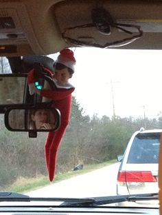Elf on the Shelf wanted to go for a ride, so here we go. I don't know why he wanted to hold on to the mirror....