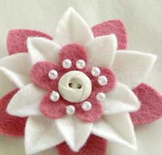 Pink and White Felt Flower Pin with White Vintage Button and Pearls by Dorothy Designs