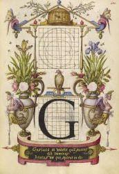 Primary Title: Guide for Constructing the Letter G Maker Name: Joris Hoefnagel (illuminator) [Flemish / Hungarian, 1542 - 1600] Type: Manusc...