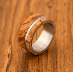 olive wood ring titanium ring band mens ring on Etsy, $160.00
