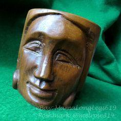 Vintage Hand-Carved Wooden Tiki Goddess Warrior Mug Cup Woman Hawaiian Queen